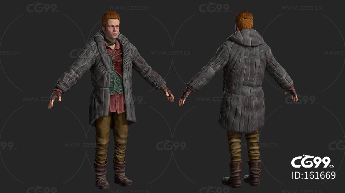 次时代欧美冬季衣服男子FBX模型