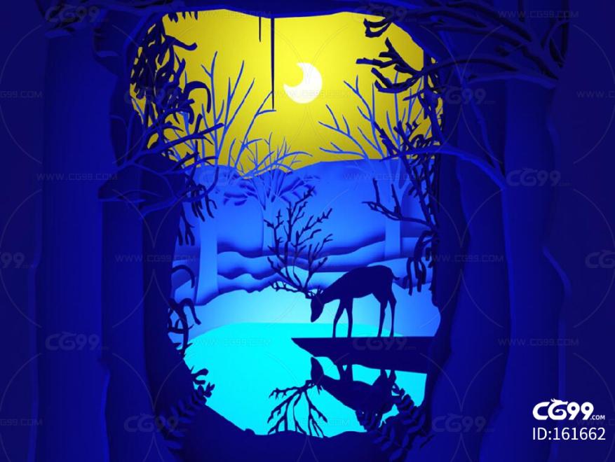 九色鹿 麋鹿 月光 蓝色剪纸 鹿喝水 湖水 森林 树 剪纸美陈 剪纸橱窗 森林主题 商场美陈 夜晚美