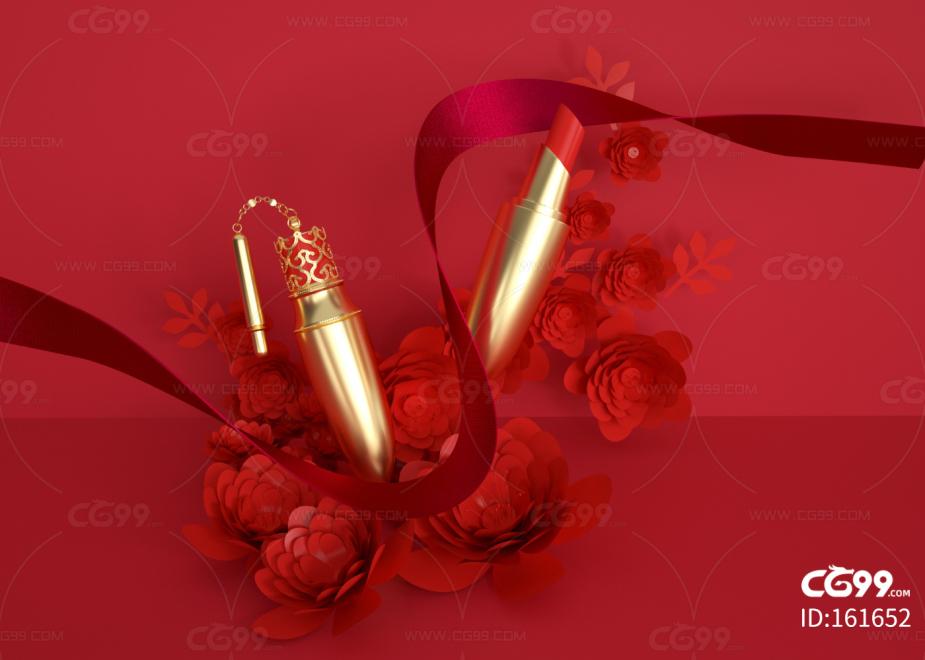 口红 纸花 背景 广告 玫瑰 剪纸 婚礼 喜庆 化妆 玫瑰金