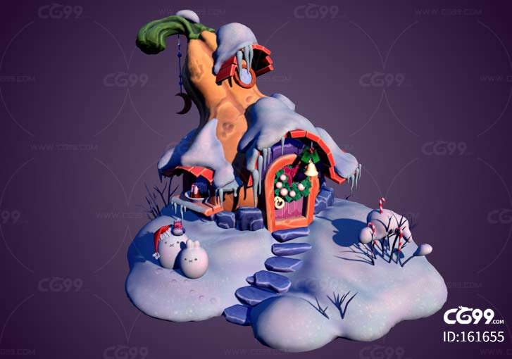 南瓜屋 卡通小屋 万圣节 雪景 雪人 葫芦 圣诞节 动漫