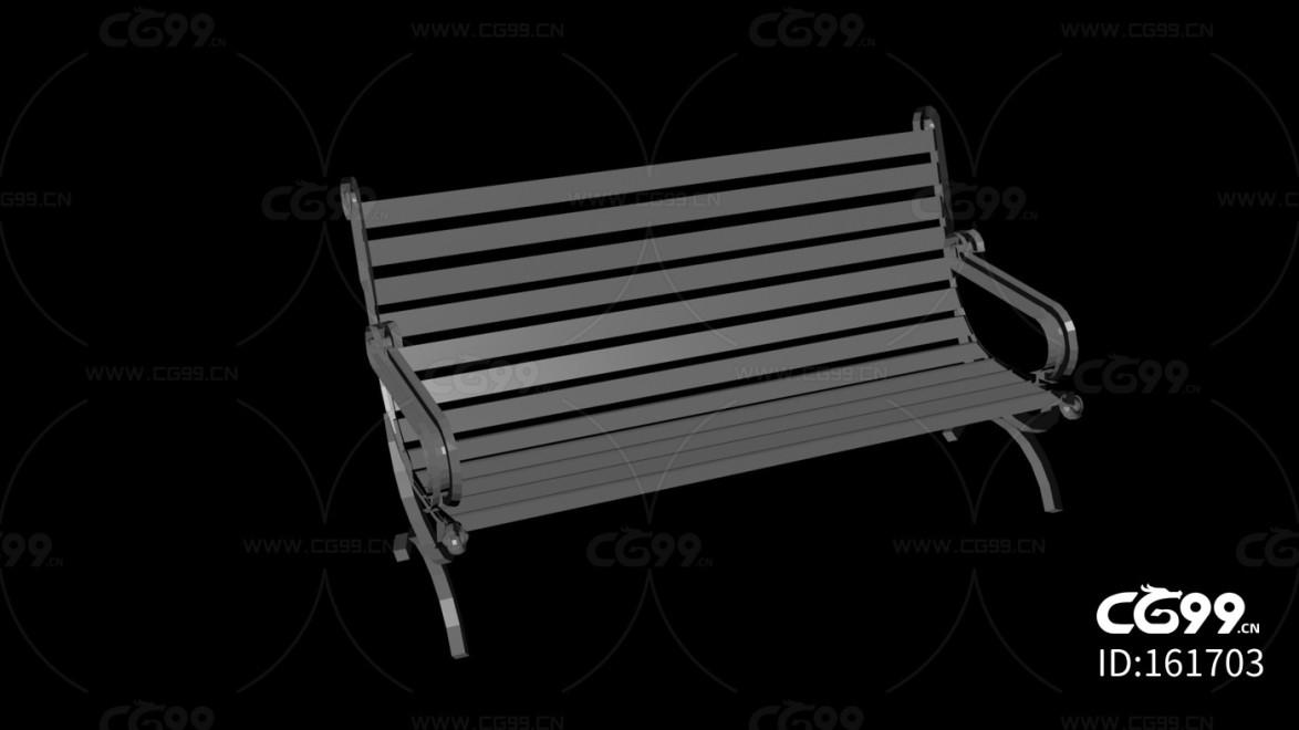 城市公用设施 黑色斜椅