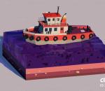 船 小船 海洋 lowpoly 卡通船 渔船 游艇 栏包 C4D