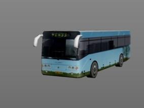 城市公用设施 蓝色时尚巴士 3d模型