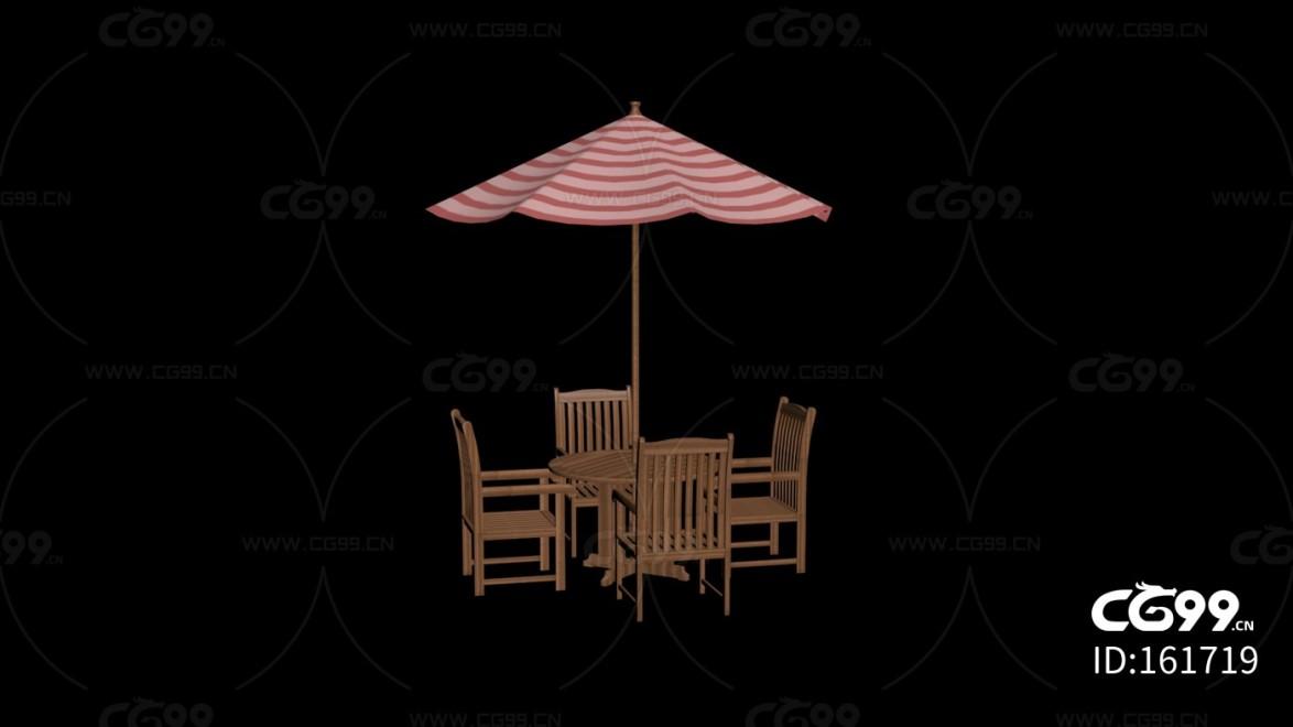 城市公用设施 红白格遮阳伞 桌椅