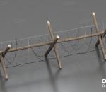 写实有刺铁丝网 棘铁丝 刀片刺网 隔离桩 军事刺网 军事物资 隔离网 铁丝网 防护