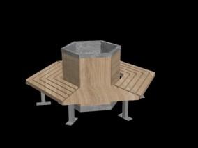 城市公用设施 圆坛椅 3d模型