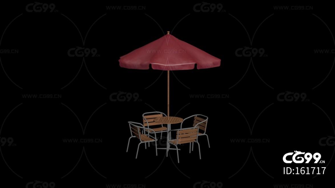 城市公用设施 红色遮阳伞 多人聚餐桌椅
