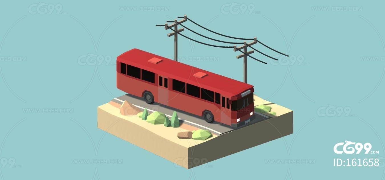 lowpoly低聚公交车 面包车 轿车 油罐车 货车 警车
