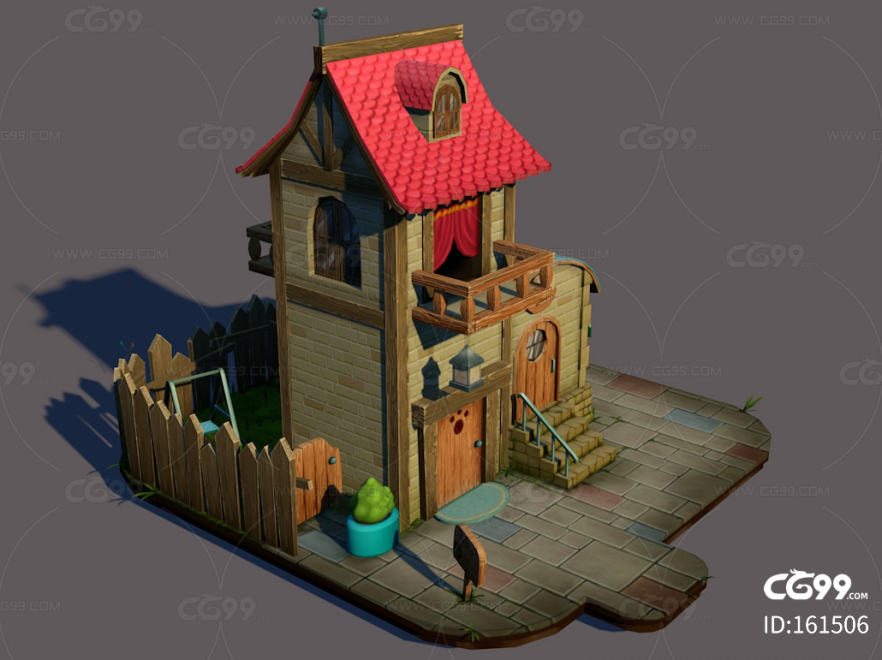古代建筑模型 古代小屋 Q版小房子 带材质贴图 卡通小屋 街道小屋 塔楼 民居