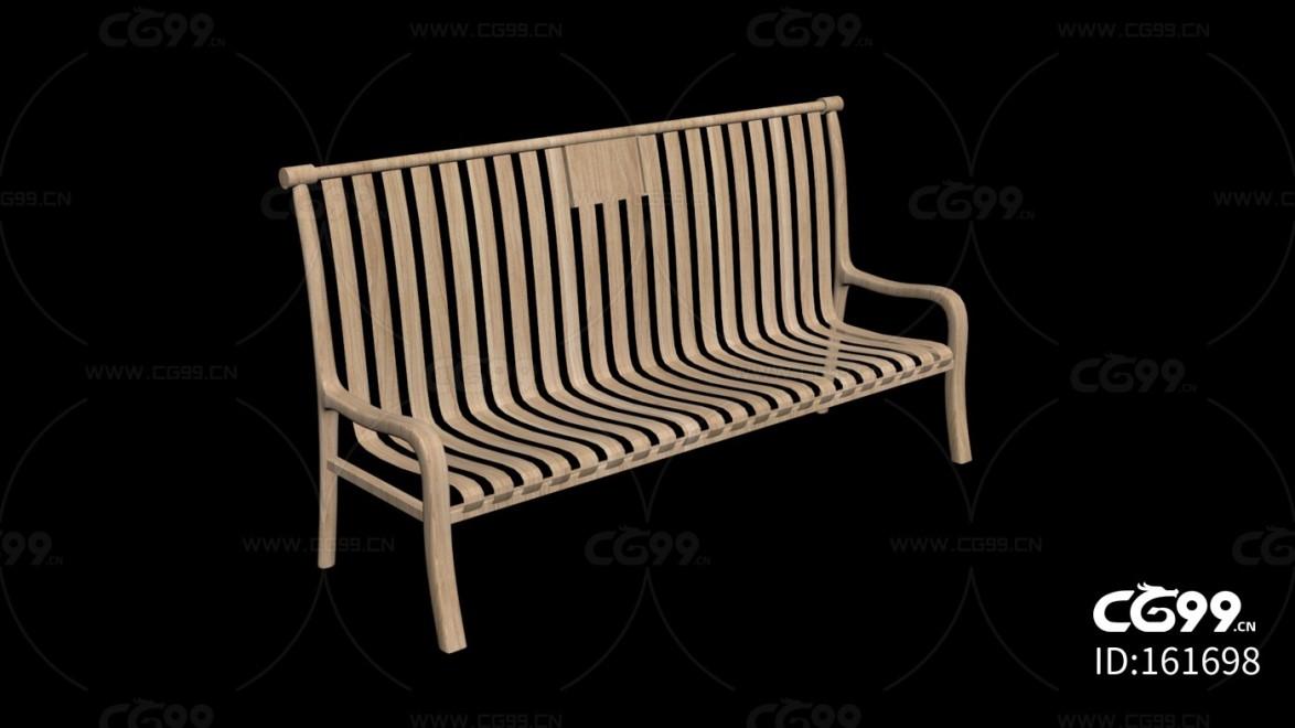 城市公用设施 半躺木椅