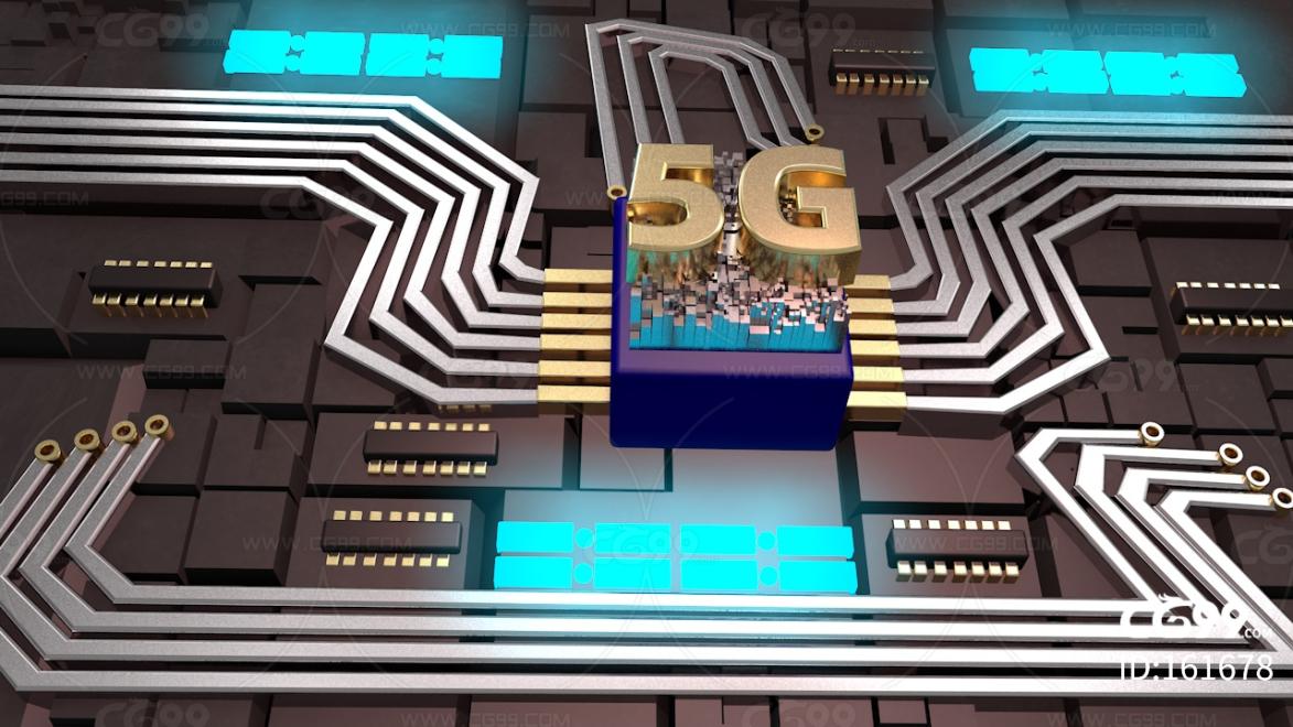 5G 芯片 CPU 处理器 科技芯片 能量方块 数据 电流 数据流 电子流动 未来 科技 科幻