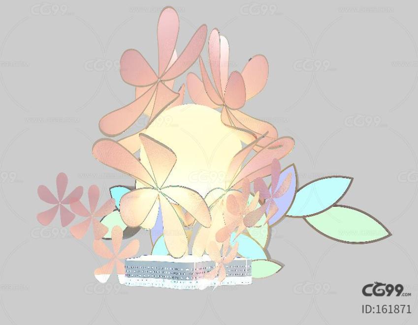花灯 DP点 活动美陈 复古灯 玫瑰花灯 三渲二 花艺 花瓣