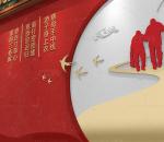 中式 高端故宫宫墙 红色养老院 敬老院文化墙