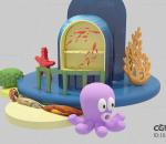 海底场景 海底 海底世界卡通海底 珊瑚礁 海星 海底石头 海底生物 章鱼 海底小屋卡通海底