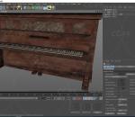 木制木质陈旧老式钢琴 古老破旧钢琴 PBR次世代