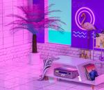 霓虹灯 电商 居家 录音机 场景 海报 背景 科技 科幻 赛博朋克 蓝紫