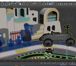 城堡 游乐园 赛车 赛道 玩具车赛道 背景板 士兵 木偶兵 民居