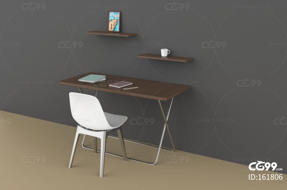 书桌 学习桌 学生 书房 现代简约 原木色桌椅 桌面一角 椅子 桌椅