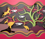 羚羊 丹顶鹤 天鹅 云树 橱窗森林主题 商场春季美陈