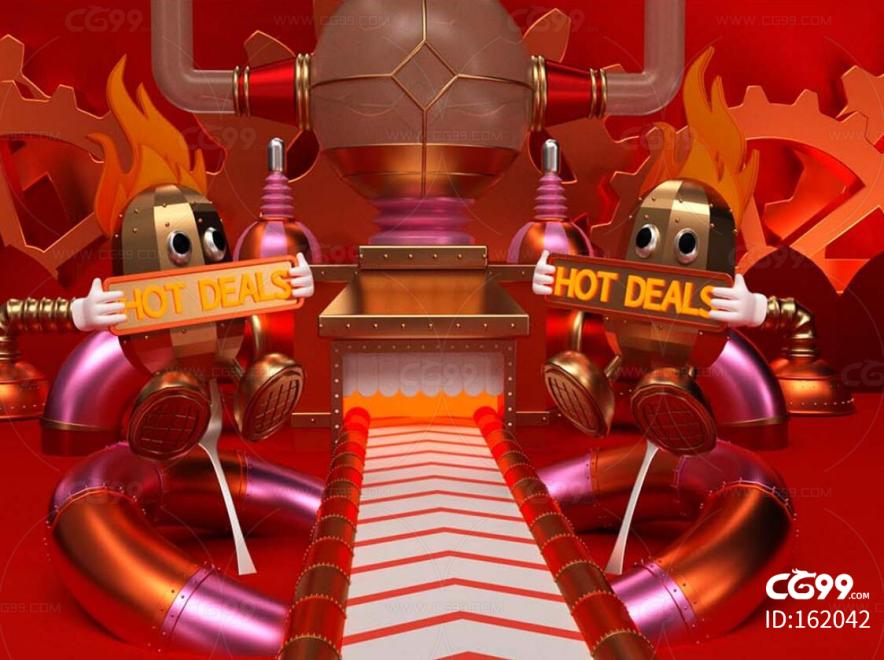 金属电商 热卖 赛博朋克 蒸汽朋克 传输 传送带 栏包 广告 海报 机械风格