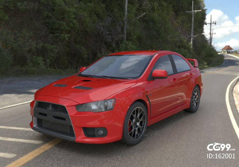 红色4s店高端三菱跑车C4D模型 轿车 汽车