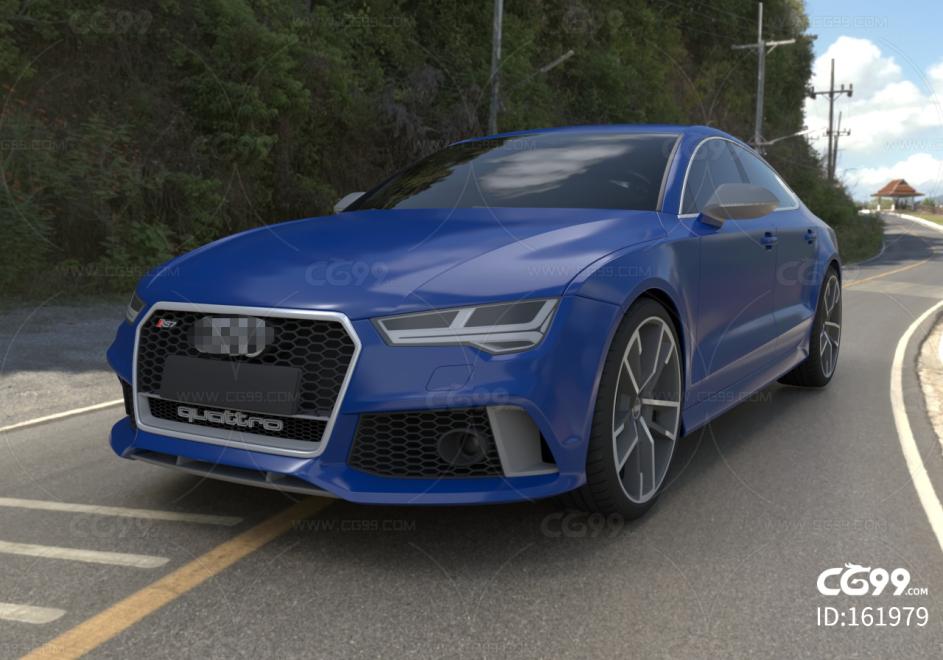蓝色4s店高端奥迪跑车C4D模型