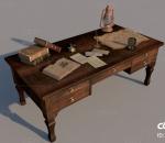 书桌 复古 办公 桌面 书籍 煤油灯 古典 羊皮书 藏书 欧式 美式