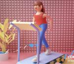 跑步机 健身 女人 绑定 室内健身 IP形象 C4D 卡通 风格 广告 栏包