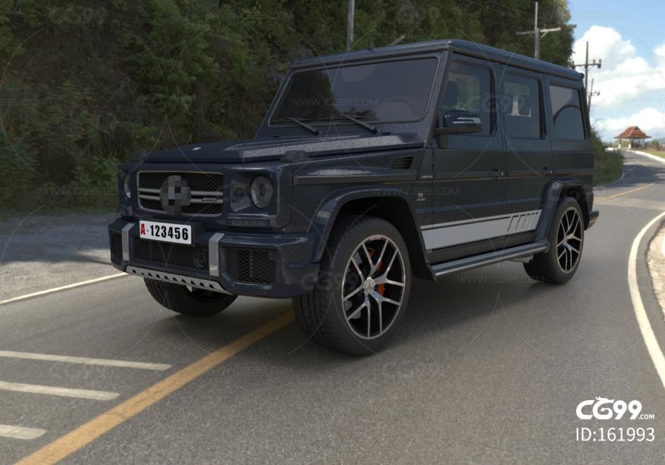 黑色4s店高端奔驰跑车C4D模型 吉普 suv 悍马