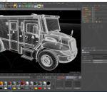 黑色面包车货车C4D模型