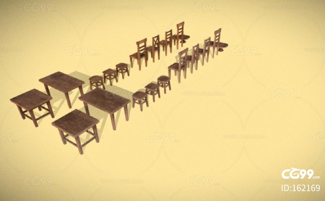 LOWPOLY低面木质家具 木桌子 木椅子 木凳子 长椅