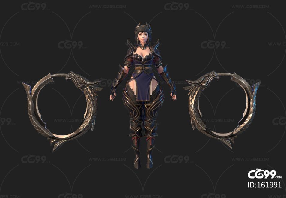 次世代pbr女角色女战士女萝莉模型