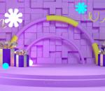 紫色 电商 海报 广告 礼物 舞台 背景 发光 科幻