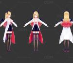 二次元 医生 护士 恶魔 短裙黑丝 美女 日系 手绘角色模型