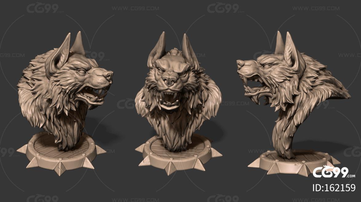 高品质 雕塑 狼人 风格化 卡通 打印 怪物