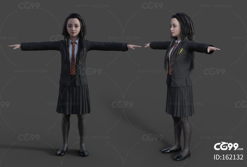 女同学 小美女 可爱小萝莉 女学生服装 中国少女角色模型