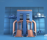 C4D电商装饰元素(大门造型)