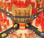 栏包 广告 城市 电商 天猫 双十一 海报 喜庆 新年 红金 海报 街道 高架