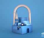 C4D蓝色小房屋装饰元素