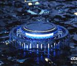 蓝色发光科技海报首页展示C4D创意场景 科幻未来 芯片