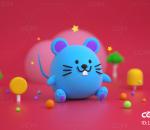 老鼠 卡通 蓝鼠 Q版 LOWPOLY 吉祥物 IP 形象 鼠年