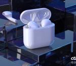 无线airpods 苹果耳机 充电舱 白色蓝牙耳机场景CR渲染C4D模型