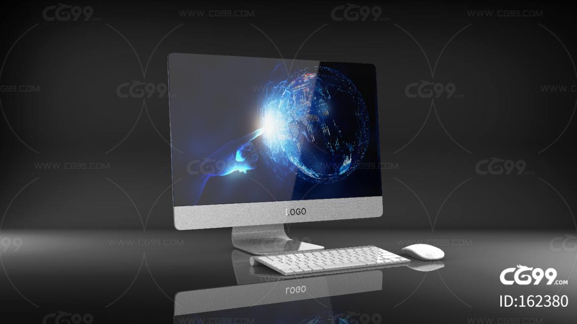 黑色科技简约电脑C4D模型 显示屏 鼠标键盘