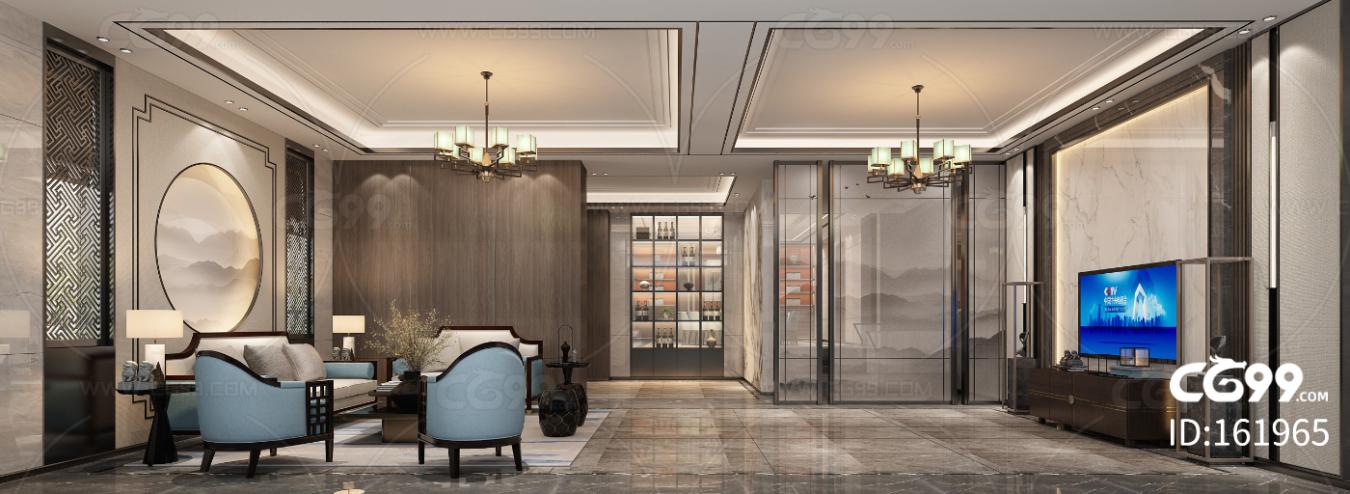 新中式别墅客厅