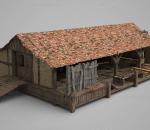 破损老旧木屋 瓦顶 建筑
