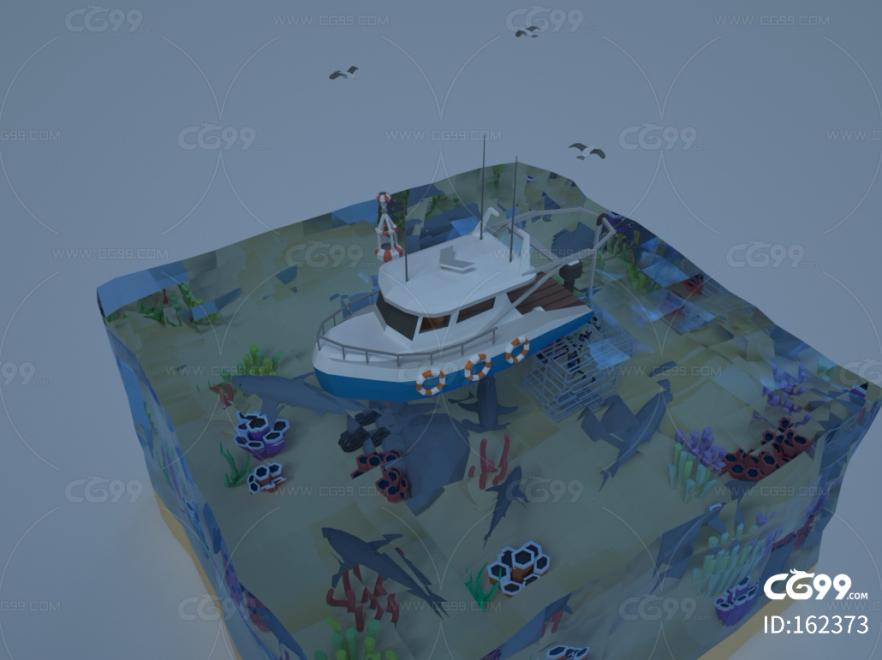 创意风海上船c4d场景模型 卡通船 渔船 军舰 小船