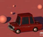 红色卡通车c4d模型
