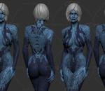 科幻蓝皮肤女3D打印模型