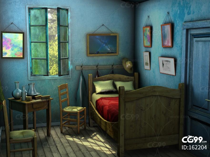 卡通小屋子 卧室 幽暗卧室 丛林小屋