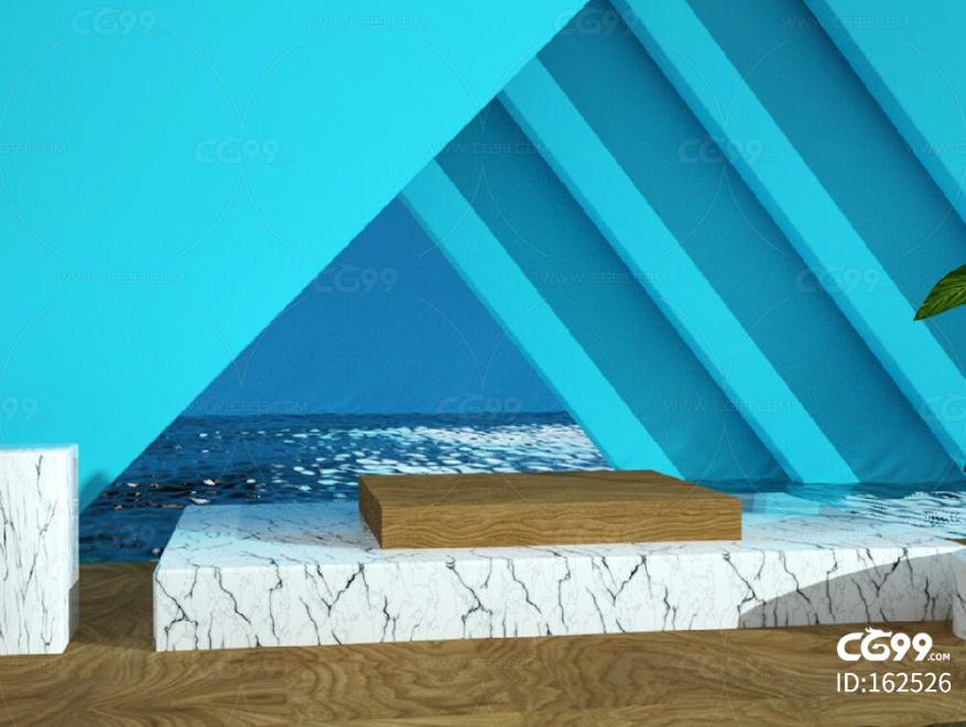 海蓝色C4D夏日清爽风格电商海报设计场景 蓝粉色 几何 展示 展台 卡通场景 广告 栏包 海报 动画